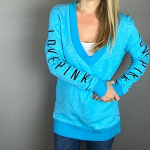 Victoria's Secret PINK blue deep V Neck sweatshirt